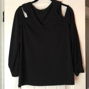 Women's peep shoulder black top